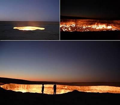 """Hell Gate (Uzbekistan, Asia) Dinamakan oleh penduduk lokal """"Gerbang menuju neraka"""", tempat ini berlokasi di dekat kota kecil Darvaz. Ketika geologis menggali untuk gas, 35 tahun yang lalu, mereka tiba-tiba menemukan gua bawah tanah yang besar."""
