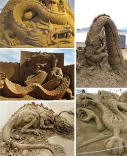 Karya Menakjubkan dari Ukiran Pasir yang membentuk naga