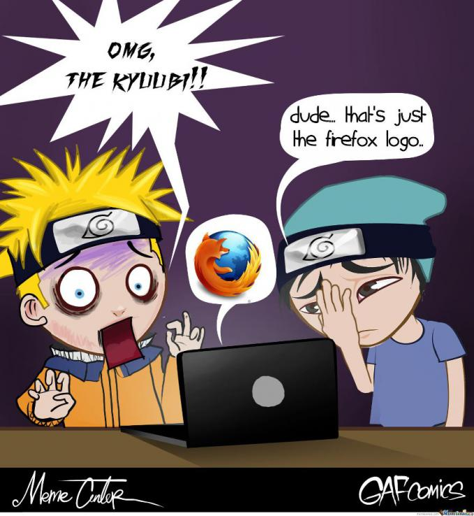 LoL... Naruto kaget liat kyubi ada di Laptop, padahal itu lambang browser :D :D