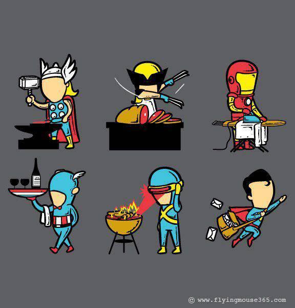 Gak cuman nolongin orang, superhero kita juga masak, setrika, beres-beres rumah :D