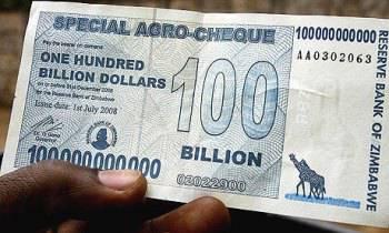 Uang pecahan Zimbabwe yang baru senilai $ 100,000,000,000,000 ZWD atau 100 triliun Juta Dollar dalam satu lembar.WOW