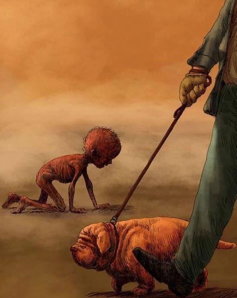 Arti Dari Gambar Ini Adalah : Hewan Kok Bisa Lebih [Gemuk] Daripada Anak Itu? *Semoga Gambar Ini Dapat Menyadarkan Kita !!