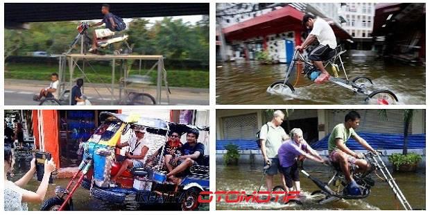 Nah Inilah sobat Pulsker , Kendaraan Unik yang di gunakan masyarakat Thailand saat Banjir , Kendaraan ini sudah di Modifikasi untuk persiapan banjir, Kreatif ya .. =)
