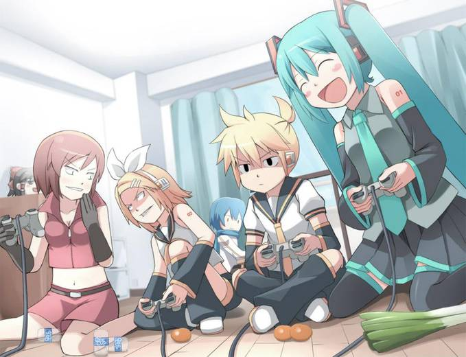 aduh si Len ternyata maennya serius banget tuh, sedangkan Meiko dan Rin lagi musuhan tu XD