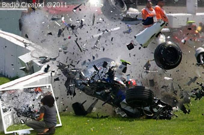 COKY si pelukis cepat....sedang beraksi..... melukis Formula 1 yang sedang menabrak pagar pembatas sirkuit.....