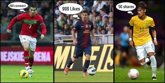 Pilih Yg Kamu Suka Cr7 200 Comment, L.Messi 999 Likes, Neymar 50 Shares