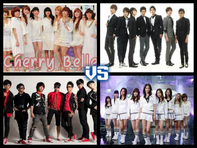 #Setuju Gak Kalo Mereka Musuhan... #Yang Setuju / Gak Setuju Klik Wow .. #Yang Merasa Bandngerss Pilih Group Band Diantara Mereka... 1. CHERRYBELLE 2. SUPER JUNIOR 3. GIRLS GENERATIONS 4. SMASH ...... Pilih Ya ... ??