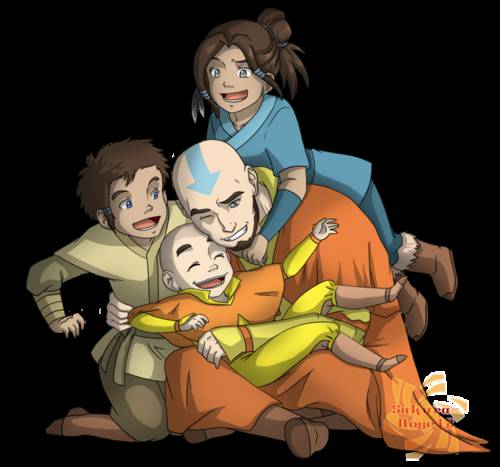 Aang dan anaknya (Kya,Bumi,dan Tenzin)