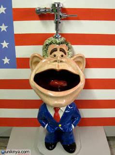 Mantan presiden amerika serikat George W.Bush menjadi presiden yang kontroversial pada masa jabatannya,Salah satu desainer toilet,benci dengan mantan presiden tersebut,maka anda bisa buang air kcl di mlut a wow a donk