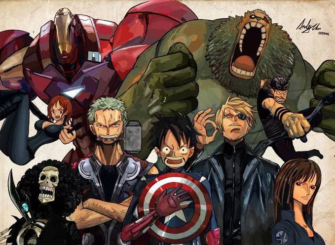 ini kelompok topi jerami versi the the avengers.. gimna? gk kalah oke kan.. :) wow yyyaaa