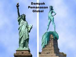 gara-gara pemanasan global.. patung liberty nya jadi buka baju tuh.. hahaha.. :)