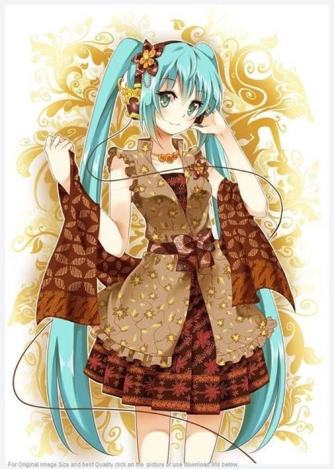Hatsune Miku in Batik.bagus ya batiknya sampe kepingin....kalo ada udah di beli tuh head phone ny juga bagus