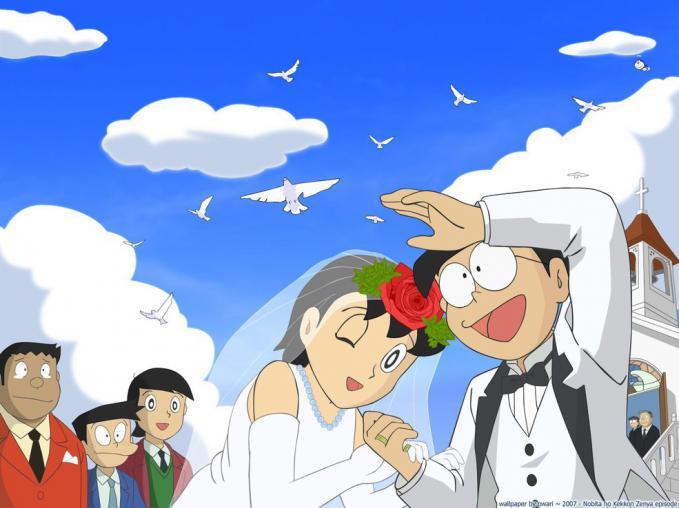 wihh... nobita & shizuka menikah, bro... hah?? giant nangis tuh.. rasanya bahagia ya, bro klo liat ini foto.. jangan lupa klik WOW ya bro..