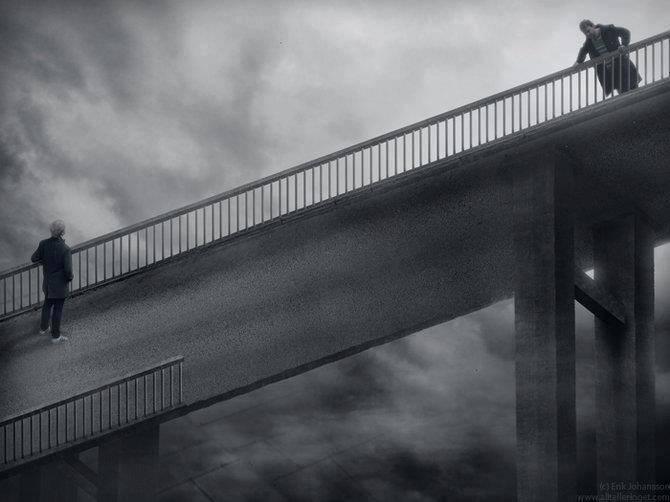 coba perhatikan jembatan ini,, ada yg aneh ga...?? ga usah capek mikirnyaa,,,, kenapa?? ini hanya lukisan tiga dimensi ..klik wow ya.. buat lukisan ini.. ty.