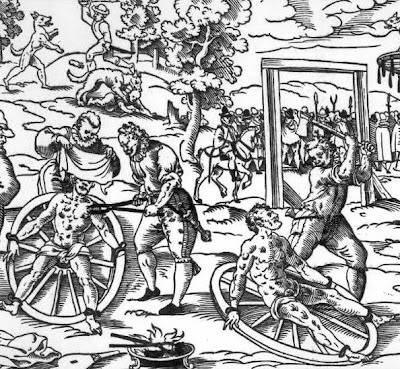 Orang yang dihukum diiket di roda, trus dicambuk, di palu, diseret, diputer-puterin, dll sampai tu orang mabok atau nggak mati.