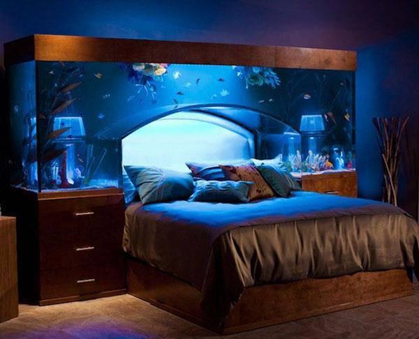 Desain kamar yang baguusss.... :) Tidur dengan melihat pemandangan ikan-ikan... (jamuan mata sebelum tidur) WOW nya sobat!!