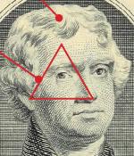 Di uang 2$ Wajah Thomas Jefferson, (presiden ketiga AS serta anggota bavarian Illuminati) diatur sedemikian rupa hingga hidung, dahi, telinga dan matanya membentuk simbol piramida bermata satu. *iluminati* Yang anti Iluminati harus bilang WOW