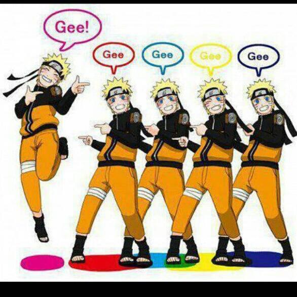 Naruto lagi nyanyi lagu snsd yang judulnya GEE Keren gak ??? \(^0^)/