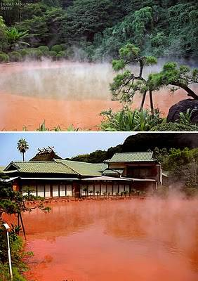 Blood Pond Hot Spring - Jepun Mata Air Panas Kolam Darah, adalah salah satu neraka di Beppu, Jepun. Sembilan mata air panas alami yang muncul ditempat ini sangat indah, tapi mungkin tidak untuk mandi.
