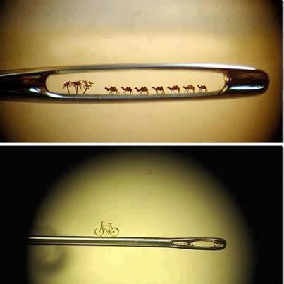 Master Miniatur - Nikolai Aldunin 1. 7 unta di lubang jarum 2. Sepeda di batang jarum Ada yg bisa buat lebih kecil ?
