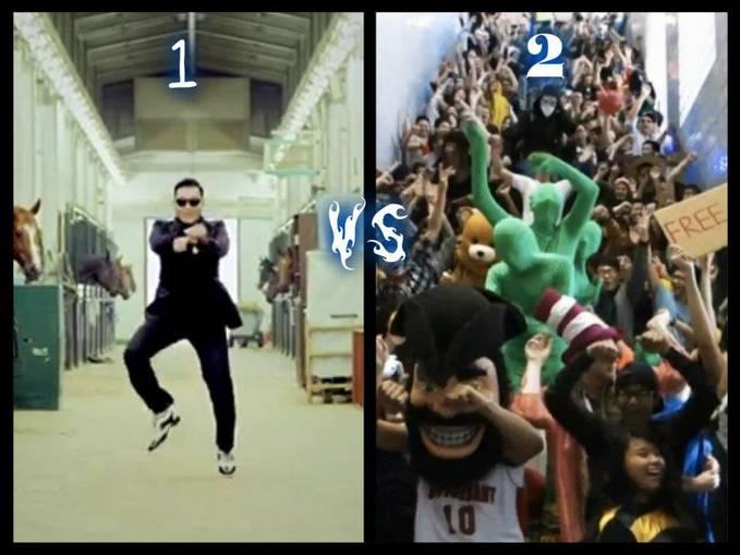 pilih tarian yang kalian suka 1.oppa gangnam style 2.harlem shake