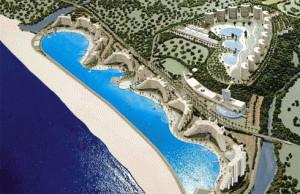 Kolam renang terbesar di dunia menurut Guiness World Book of Record ini terletak di sebuah resort bernama San Alfonso del Mar, Chile. Panjang kolam renang ini mencapai 1.000 meter dan kedalamannya mencapai 35 meter. dan 250 juta liter air
