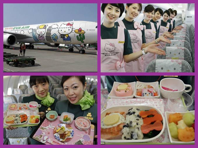 Karakter kartun Jepang Hello Kitty nampak menghiasi badan pesawat maskapai penerbangan Taiwan, Eva Air. Tidak hanya di badan pesawat, bahkan kartu boarding dan self service cek in nya pun bergambar Hello Kitty.