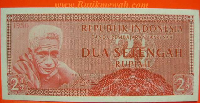 """2 1/2 Dua Setengah Rupiah Uang Kertas """"Rp"""" Rupiah Mata Uang Indonesia Tahun 1956 Indonesian Bank-Notes Old Paper Money » 2 1/2 Uang kertas Rupiah mata uang dari Negara Republik Indonesia uang jaman dulu uang kuno antik tahun 1956"""