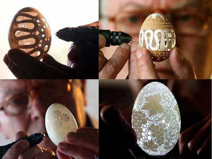 Membuat karya seni dari cangkang telur