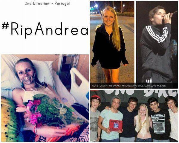 #RIP ANDREA Andrea adalah Directioners Luar dy meninggal karena sakit kanker pernafasan sebelum Meninggal dy pernah foto bareng The Boys dan di kasih jaket sama Louis :)