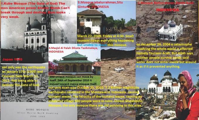 Kekuatan sebagian besar masjid Kobe Mosque , Jepang (The Gate Of God) Tahun 1945,Kekuatan Terbesar Amerika Yang Mematikan. Dua kotanya Nagasaki dan Hiroshima dibom Atom oleh Amerika seluruhnya hancur lebur rata dengan tanah Kecuali masjid ini.