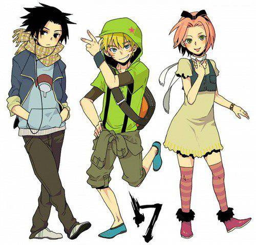 ini dia Team 7 (Naruto) versi Gaul / Modern !! :D, Naruto beda bgt yah !! :D