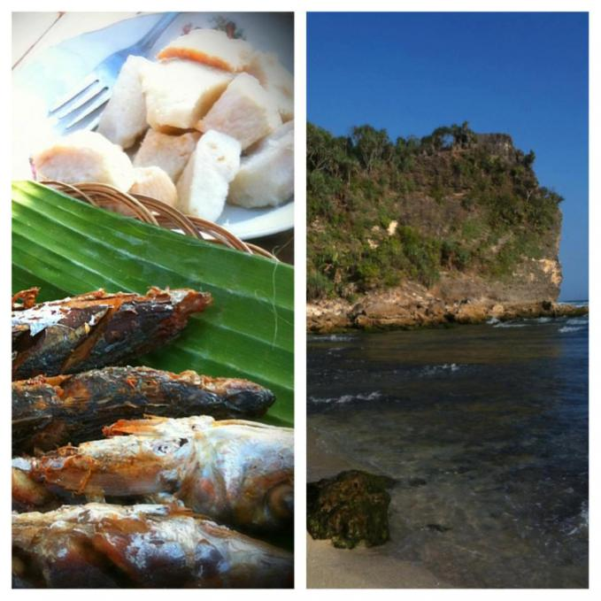 Sederhana, tapi Istimewa. Makan Uwi (ubi kelapa) rebus berlauk tongkol goreng di Pantai Poktunggal Gunungkidul, Jogja. Silakan dicoba jika ke sana