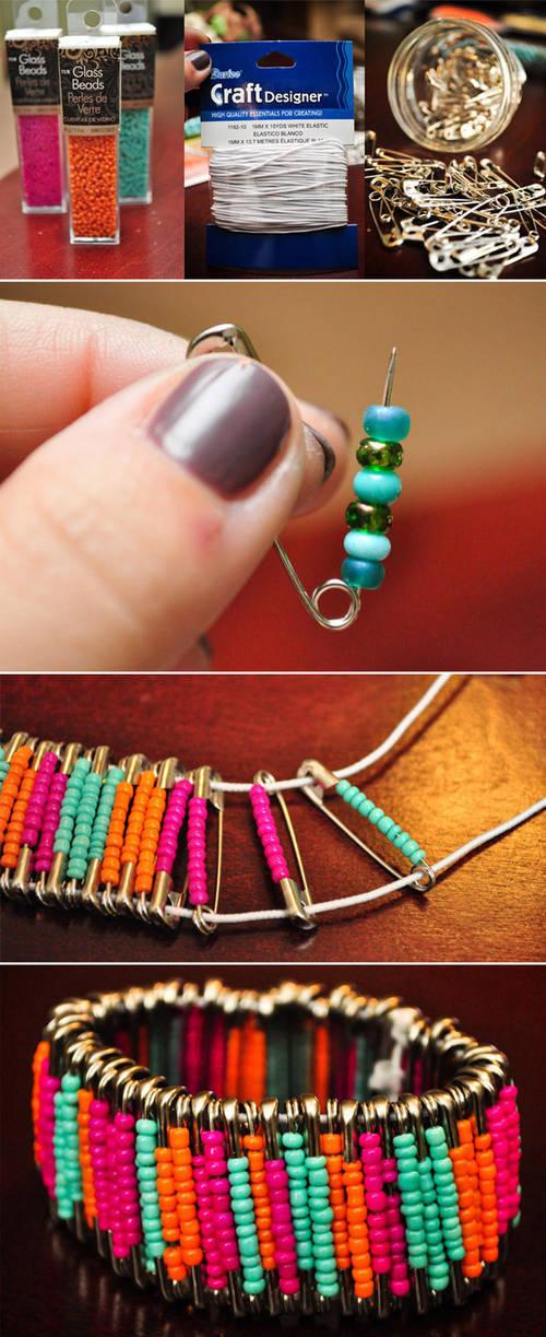 -Safety-Pin-Bracelet >> Gelang unik dari peniti , Guys ! Jgan LUPA WOWnya yaa
