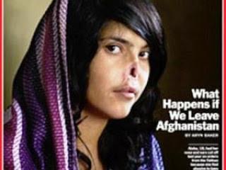 Gambar tragis seorang perempuan muda Afghanistan berusia 18 tahun,Aisha adalah korban kebiadaban Taliban, hidung dan telinganya dimutilasi, dipotong oleh suaminya sendiri