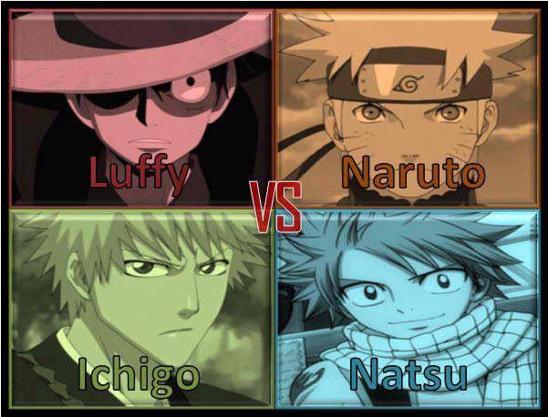 Luffy vs Naruto vs Ichigo vs Natsu. Pilih mana ??