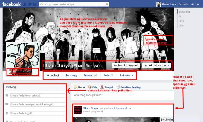 beginilah tampilan facebook baru guys.... :D ini adalah facebook lama saya.... waktu dibuka ehh... dh jadi tampilan baru... memang gk jauh beda dengan ronologi skrang....