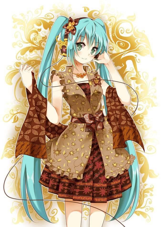Lihat, Miku saja pakai batik, kita sebagai orang Indonesia juga harus bangga dan suka dengan batik! Ayo! Lestarikan batik! :)