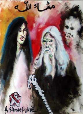 ini lukisannya Ustad Soleh pati yang ada di mister tukul. masa dia bisa ngelukis sambil nutup mata gitu?? kan WOW banget