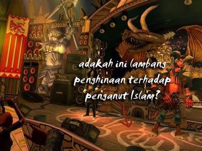 Guitar Hero 3 Penghinaan terhadap Islam tampak jelas dengan adanya lafaz Allah di lantai panggung dan diinjak-injak. Coba lihat latar belakang panggung yang merupakan setan semua.