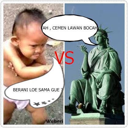 hahaha Patung liberty vs Bocah siapa yang menang??