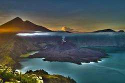 West Nusa Tenggara fantastic scenery Mt Rinjani (Three color lake), locatet about 23 miles northeast from Mataram city (Lombok Island)