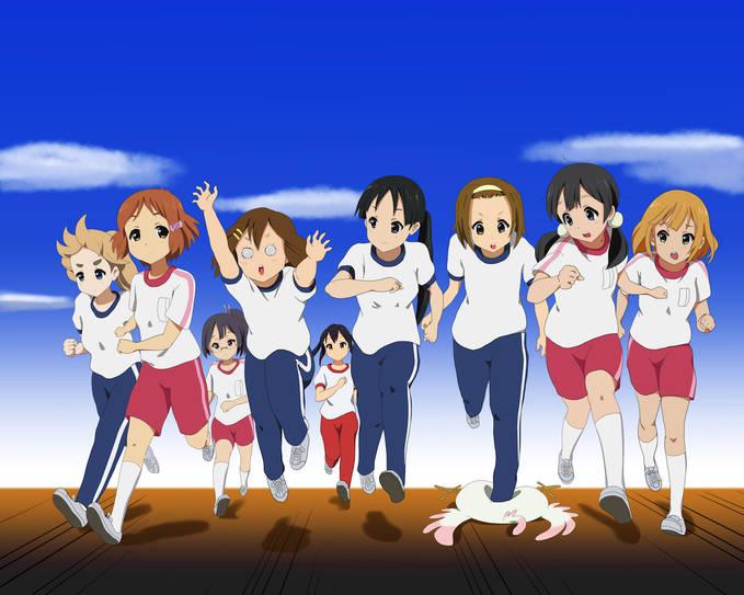 mereka adalah tokoh dalam anime tamako market dan k-on... *celana pink: tamako market *celana biru: k-on