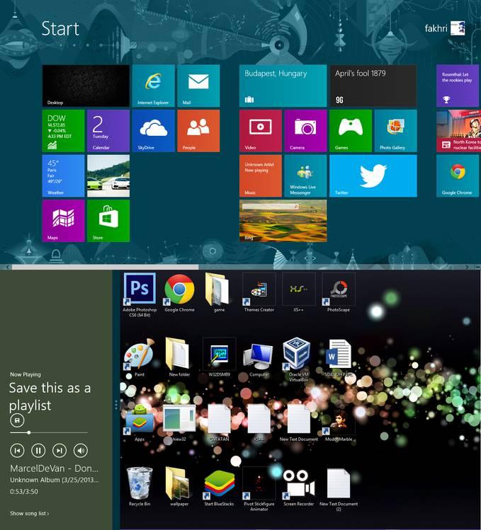 tampilan windows 8 start Desktop yang ditambah musik, kini windows 8 sudah memperbagus tampilanya, dan app tambahanya. :D
