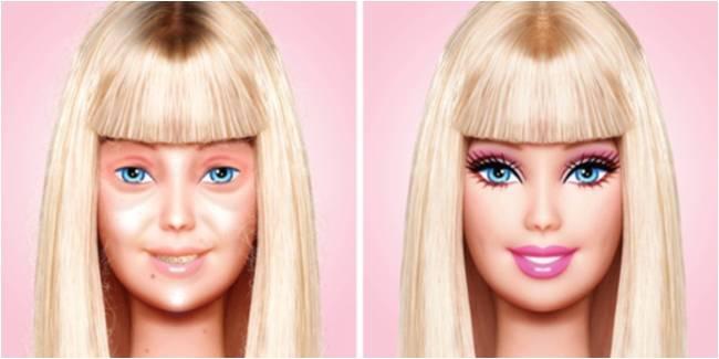 Inilah Wajah Barbie Yang Sebenarnya Tanpa Makeup