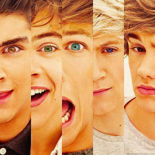 keren kan warna mata mereka Zayn : Coklat muda Harry : hijau Louis : Biru muda Nial : biru tua Liam : Coklat tua