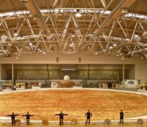 Seorang chef master dari kota Roma Italia telah melakukan sebuan tantangan baru yaitu membuat sebuah Pizza yang sangat besar ukurannya. Pizza yang akan di buat itu akan menggunakan 50 ton tepung terigu dan 100 kuintal keju mozarella.