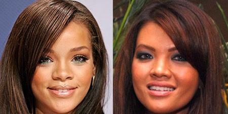Waahh, ternyata farah quinn mirip artis hollywood dan penyanyi terkenal, Rihanna. Kiri : Rihanna Kanan : Farah quinn