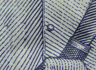Pengamatan di bawah mikroskop mini pada uang kertas Rp 1000 menunjukkan adanya gambar smiley di kancing ke dua Patimura