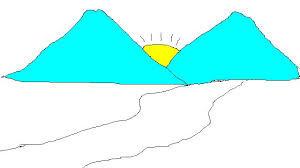 Sewaktu masih duduk di TK, seorang murid menuangkan apa yang dibayangkan tentang pemandangan alam adalah : sepasang gunung dengan tidak lupa matahari ditengahnya, jalan dan sawah. Sungguh Luar biasa anak anak TK di Indonesia !